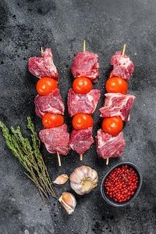 Raw pork shish kebabs