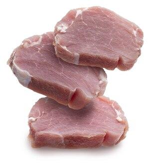 Сырая свиная вырезка (вырезка) стейки (кусочки), сочные и свежие