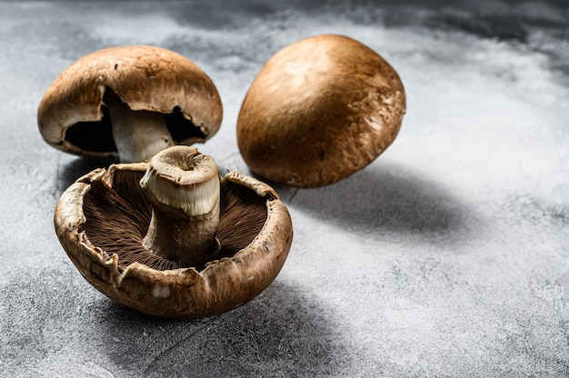 Premium Photo Raw Portobello Mushrooms Farm Organic Food Top View