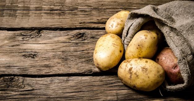 생 감자 식품. 나무 배경에 오래 된 자루에 신선한 감자. 텍스트 무료 장소.