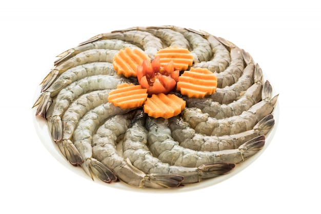 Raw prawn and shrimp in plate