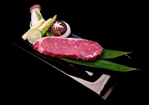 Raw premium beef steak cut and teppanyaki style set