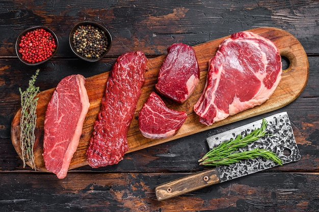 Raw prime black angus beef steaks