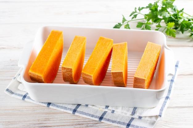 かぼちゃニョッキの生かぼちゃ焼き皿。ステップバイステップ。調理