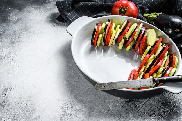 Raw ratatouille, traditional french vegetable dish.  top view. copy space.