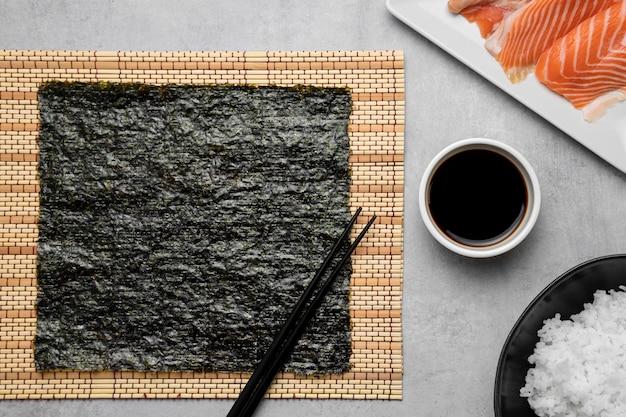 生鮭とご飯の上面図
