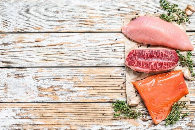 生鮭、牛肉、七面鳥とハーブ