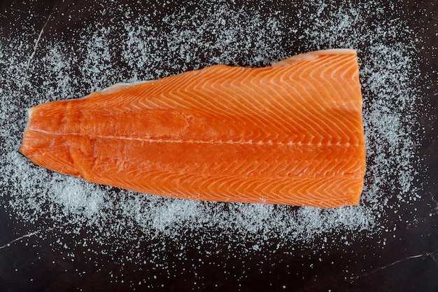 Raw salmon fillet, salt, ingredients for dry cure marinade on dark background.