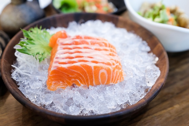 Raw salmon fish for eating in kitchen