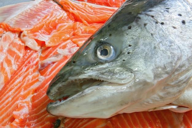 Сырье лосося в куче нарезанного филе лосося