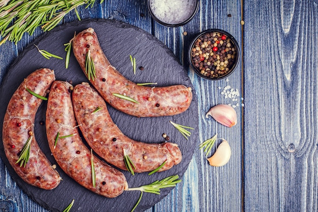 Raw sausage of beef and pork with spices