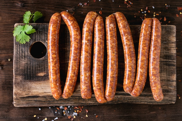 Raw sausages for bbq