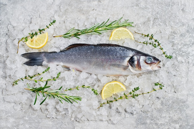 Raw sea bass on ice with rosemary, thyme and lemon.