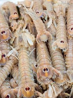 魚市場で生海蝉をクローズアップ