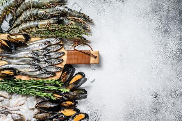 Raw seafood tiger prawns, shrimps, blue mussels, octopuses, sardines, smelt.