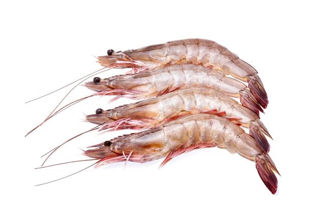Raw shrimps isolated on white background