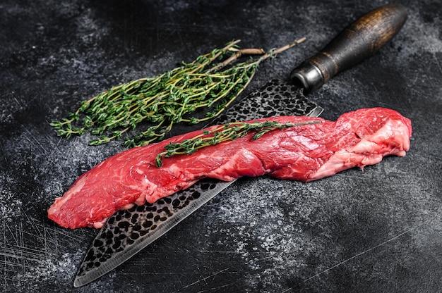 고기 칼에 원시 치마 만도 쇠고기 스테이크