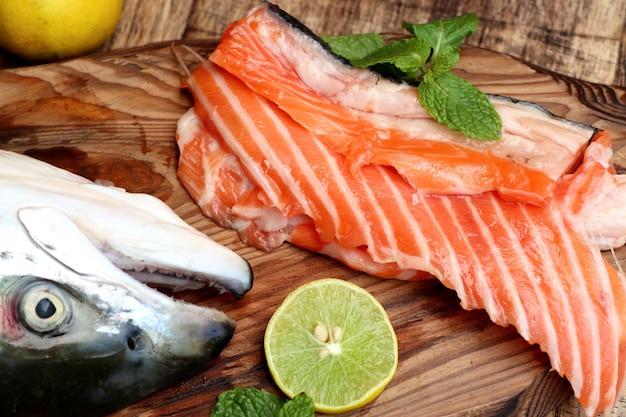 Raw slice of salmon