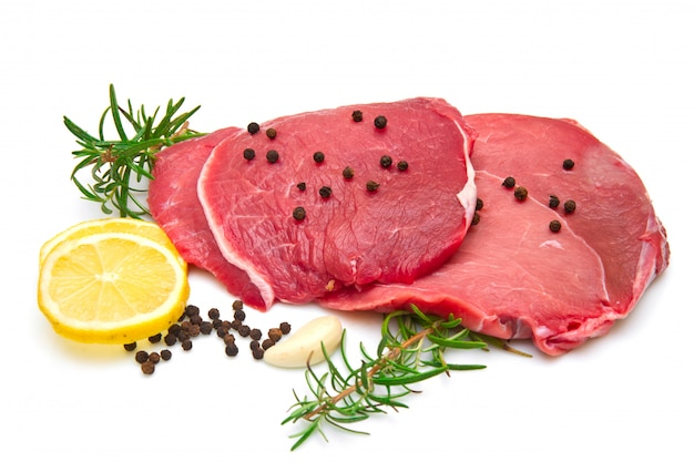 Raw sliced beef