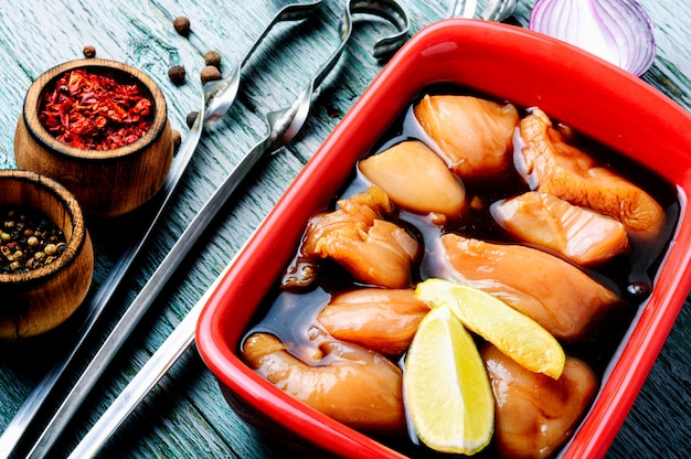Raw spicy chicken shish kebab