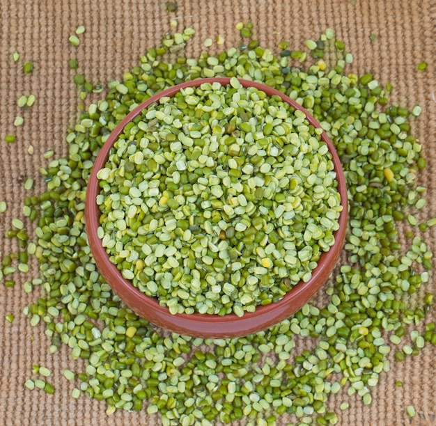 Raw split mung bean lentils