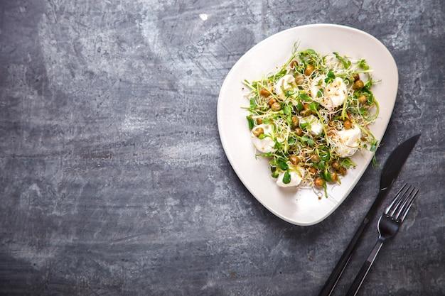 Raw sprouts microgreens.fresh green  salad