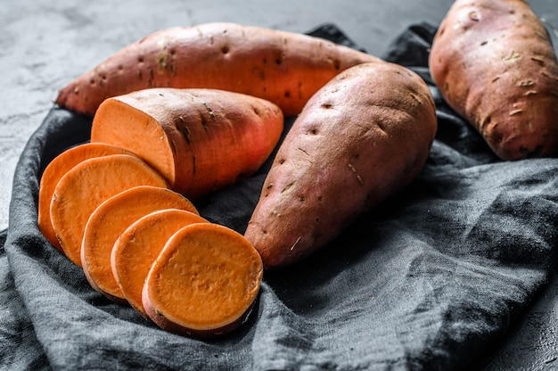 Raw sweet potatoes, organic yam.