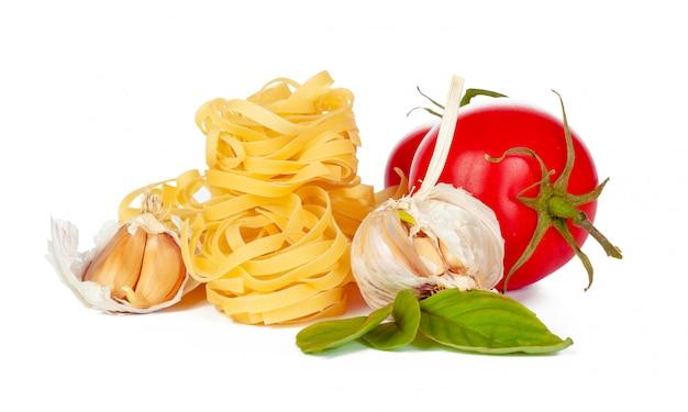 Raw tagliatelle pasta isolated