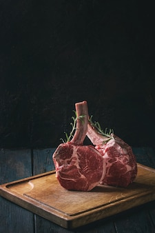Raw tomahawk steak