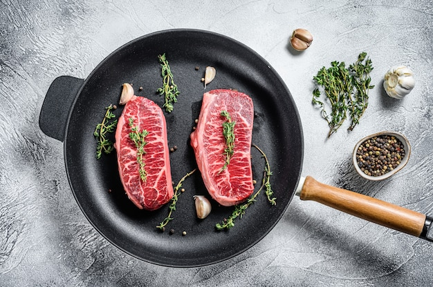 Raw top-blade steak in a pan
