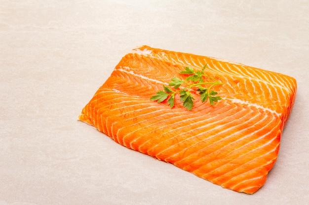 Raw trout fillet (salmon).