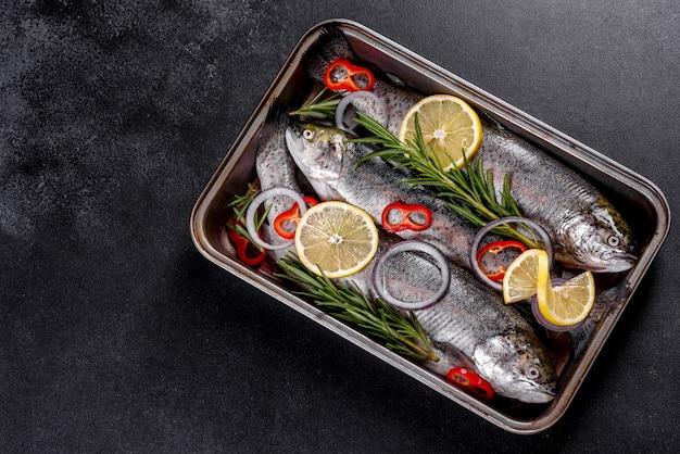원시 송어는 어두운 콘크리트 테이블에 검은 돌 자르고 보드에 거짓말. 근처 : 토마토, 로즈마리, 레몬, 후추, 양파, 소금