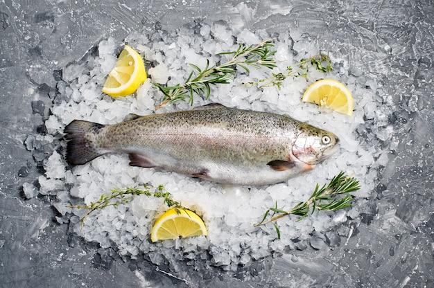 Сырая форель на льду. ингредиенты розмарин, лимон.