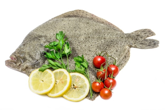 A raw turbot fish with lemon slices,cherry tomatoes and parsley isolated on white table