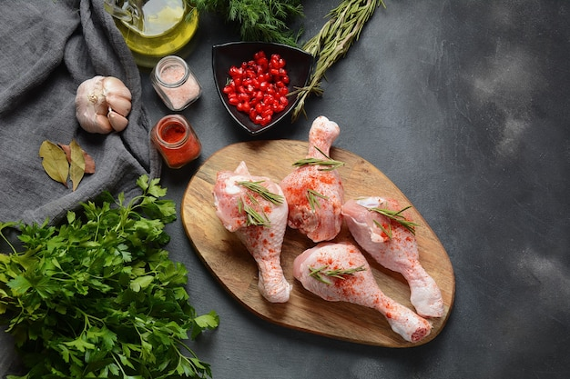 Raw uncooked chicken legs for barbecue grill