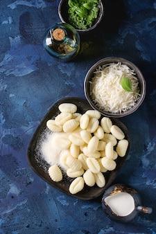 Raw uncooked potato gnocchi