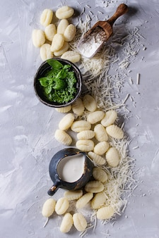 Raw uncooked potato gnocchi