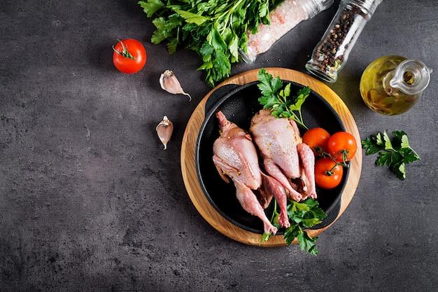 Raw uncooked quail