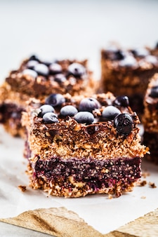 Raw vegan coconut chocolate dessert with blueberries