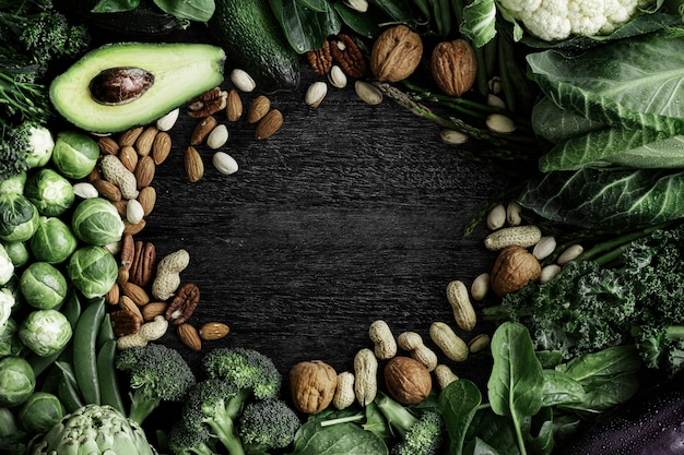 Raw vegetable frame with nuts and avocado