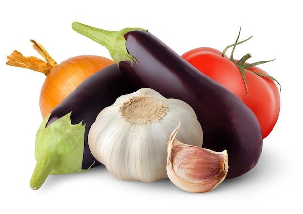 白で分離された生野菜