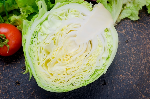 Raw vegetables for salad