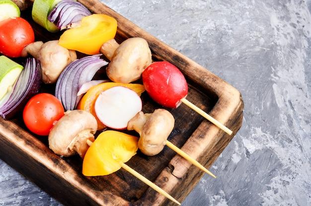Raw vegetables on skewers