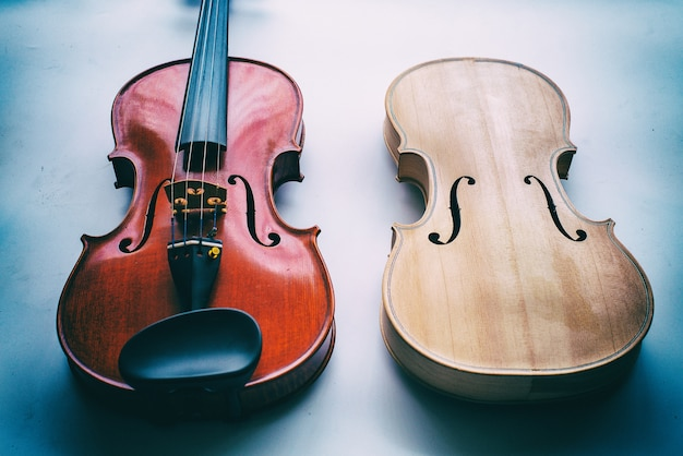 Raw violin and completed violin