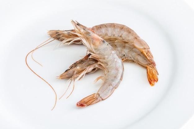 Raw and whole prawns.