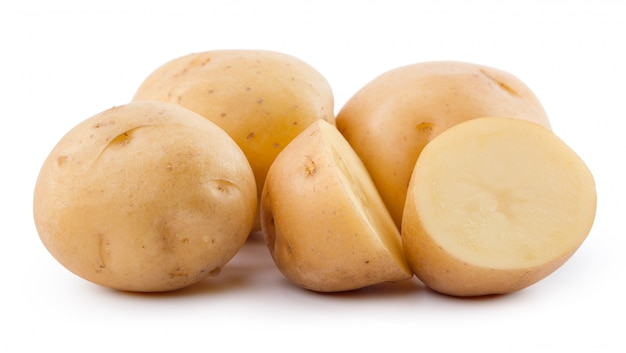 Raw yellow potato isolated