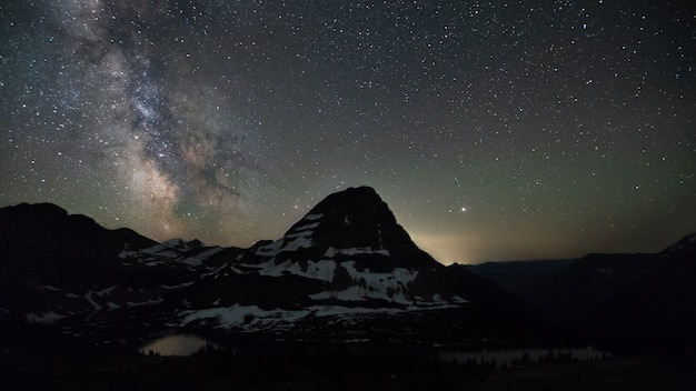 Raynolds mountain and milkway at glacier national park