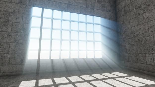 Лучи света окна фон, 3d визуализация