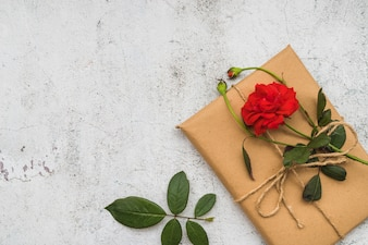 Re rose flower on wrapped gift box over the old white background