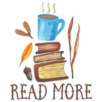 Read more. cute watercolor illustration of coffee mugplaced  on two books. autumn cozy vibes,